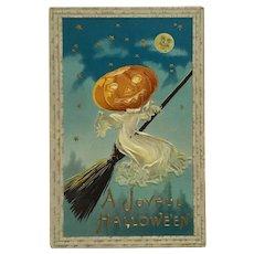 Pumpkin Head Lady Ghost On Halloween Ride Postcard