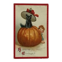 Halloween Cat Wearing Hat  On Pumpkin And Mischievous Boy- Signed Brundage