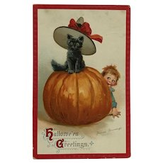 Halloween Cat Wearing Hat  On Pumpkin And Mischievous Boy- Signed Brundage