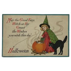 Little Witch With Her Cat And Halloween Greeting Postcard