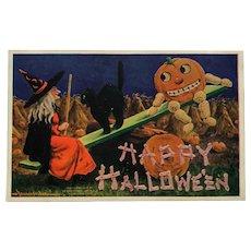 Halloween Witch At Play With Pumpkin Man Postcard-Bernhardt Wall