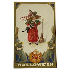 Little Halloween Witch Dressed in Red Holding Cat And Broom Postcard