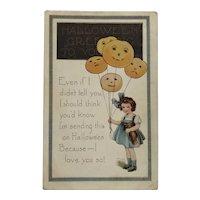Cute Little Girl With Halloween Jack-O-Lantern Balloons Postcard