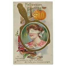 Halloween Witch Helps Pretty Girl Postcard