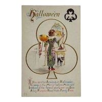 Club Card With Young Woman Getting Halloween Advice Postcard
