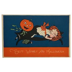 Jack-O-Lantern Scares Little Girl On Couch Halloween Postcard
