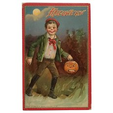 Boy On Halloween Ready for Tricks And Treats With Jack O Lantern- Unsigned Brundage