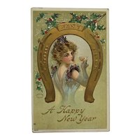 New Year's Lucky Lady Sips Champagne Postcard
