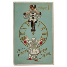 Pierrot And Columbine On New Year's Eve Postcard