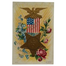 Memorial Day GAR Medal Postcard