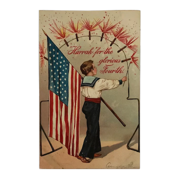 Flag And Fireworks On The Fourth Postcard
