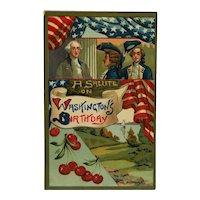 George Washington's Birthday Salute Postcard