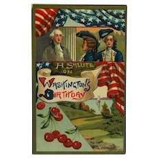 George Washington's Birthday Salute Postcard