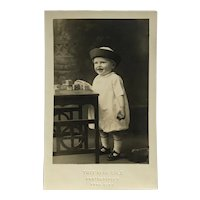 RPPC- Little Boy In Hat Playing With Blocks Postcard