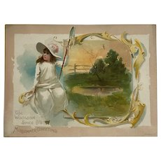 Woolson Spice Trade Card-Midsummer Girl With Butterfly Net