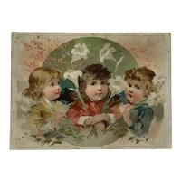 Woolson Spice Trade Card- Little Girls With Easter Lilies