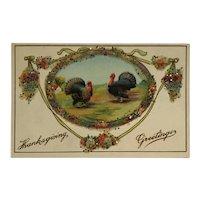 Thanksgiving Turkeys With Decorative Glass Beads Postcard