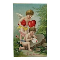 Cupids  Stuffing Envelope With Hearts Valentine's Day Postcard