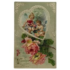 Two Fairies With Delicate Flowers and Heart Valentine's Day Postcard