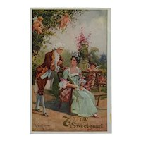 Colonial Couple With Three Cupids Postcard