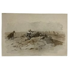 Charles Russell Hunting Scene Postcard