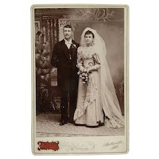 Cabinet Card- Bride In Dress With Beautiful Lace
