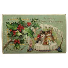 Darling Kitty Couple Share Christmas Pudding Postcard- Hold To The Light