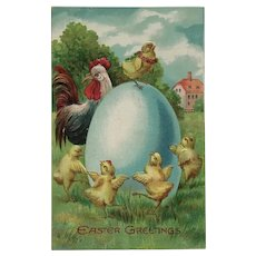 Easter Chicks Dancing Around Big Blue Egg Postcard