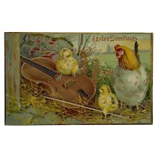 Easter Chicks With Violin Postcard