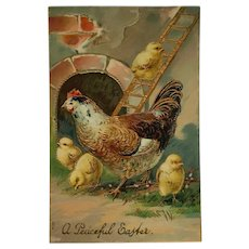 Easter Chicks And Hen With Golden Ladder Postcard