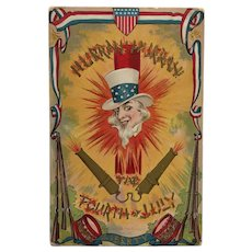 Uncle Sam's Hurrah For The 4th Postcard