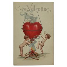 Cupids With Heart On Fire Valentine Postcard