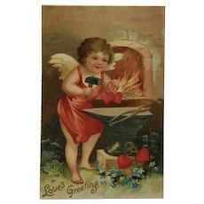 Cupid Black Smith Forging A Heart Postcard