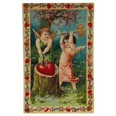Cupids Hammering A Big Heart Valentine Postcard