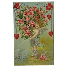 Sweet Cupid Holding Giant Bouquet Of Pink Roses Postcard