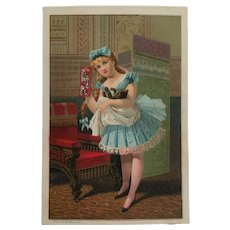 Trade Card- Burdock Blood Bitters-Girl With Kitten