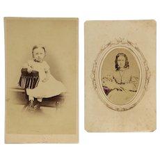 2 CDVs-Civil War Era Toddler And Young Teen Girl