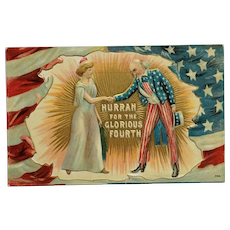 Uncle Sam And Lady Liberty On The Fourth Postcard