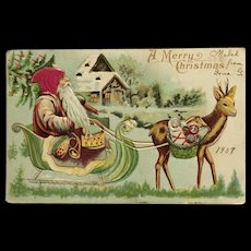 Santa With Silk Hat And Little Reindeer - Red Tag Sale Item