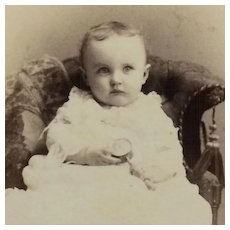 CDV- Darling Victorian Baby With Rattle
