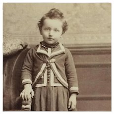 Cabinet Card- Curly Haired Victorian Child In White Trim