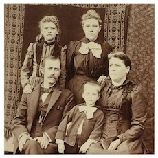 Cabinet Card-Victorian Family With Rustic Backdrop