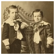 Cabinet Card- Two Boys In Knickers