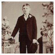 Cabinet Card- Handsome Boy Holding Hat
