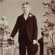 Cabinet Card- Handsome Boy Holding Hat