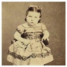 CDV- Little Victorian Girl In Off Shoulder Dress