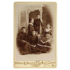 Cabinet Card- Five Young Victorian Ladies
