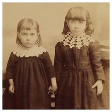 Cabinet Card- Little Victorian Sisters Holding Hands