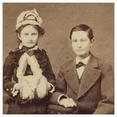 CDV- Sister With Hat and Muff And Big Brother