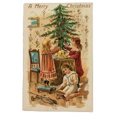 Decorating  Christmas Tree Postcard